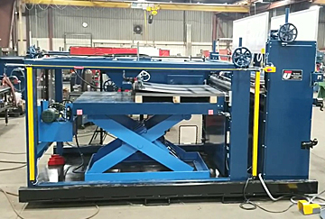 Automated metal sheet feeder and stacker.