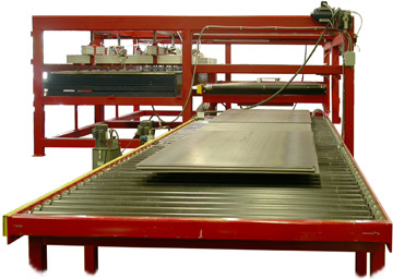 Automatic steel plate and sheet feeder and de-stacker.