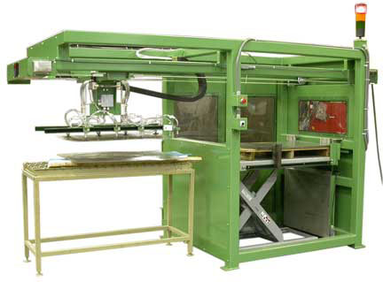 Steel blank sheet feeder.