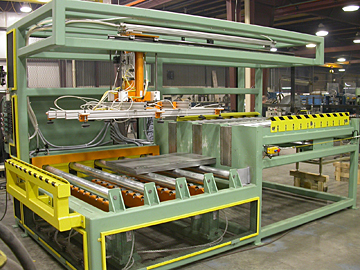 Automatic steel sheet de-stacker and feeder.