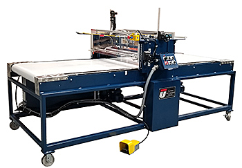 Series #5, Model C, Union Roller Coater is designed to apply a variety of different coating materials including water base adhesives, resin adhesives, solvent based adhesives, etc. to the top side only of a variety of different flat foam materials.